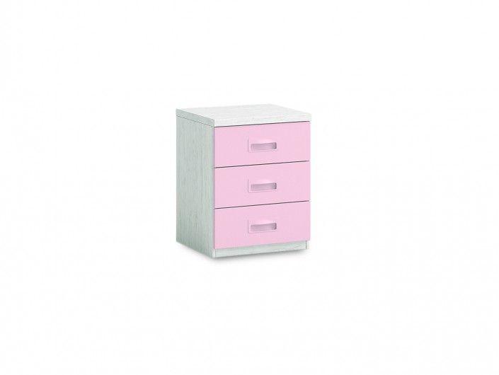 Mesita 3 cajones color ártico-rosa  merkamueble
