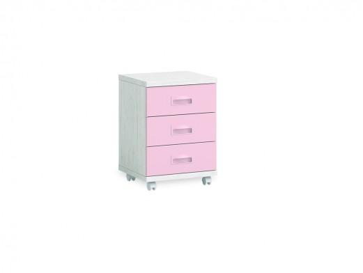 Mesita 3 cajones con ruedas color ártico-rosa  merkamueble