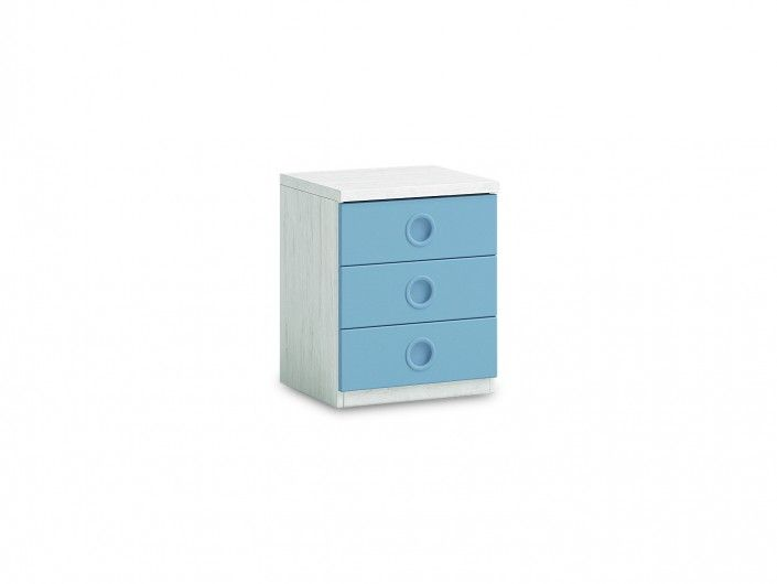 Mesita 3 cajones color ártico-cobalto  merkamueble