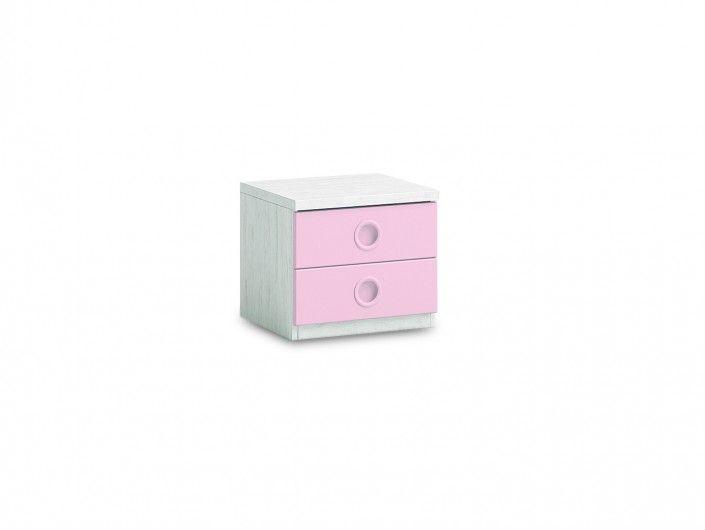 Mesita 2 cajones color ártico-rosa  merkamueble