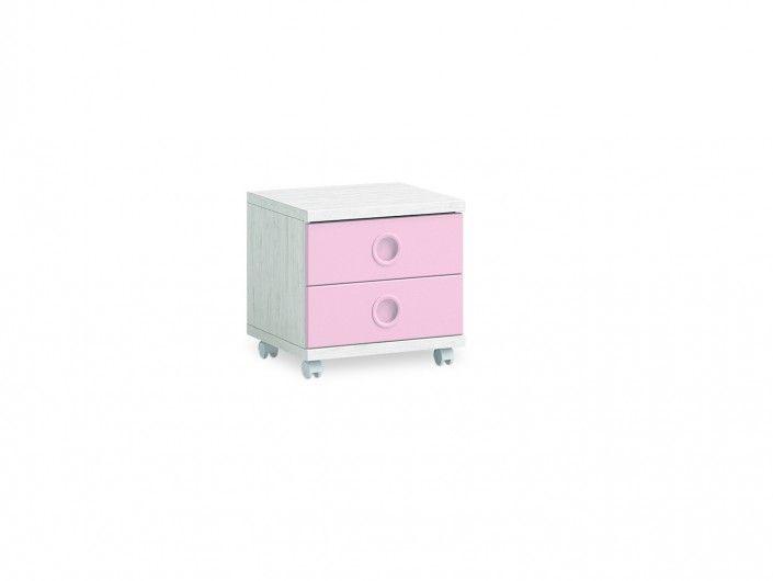 Mesita 2 cajones con ruedas color ártico-rosa  merkamueble