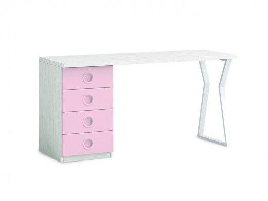 Escritorio 150 cm con 4 cajones color ártico-rosa-blanco  merkamueble