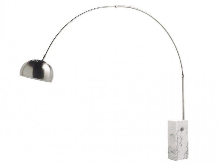 Lámpara de pie curva metal y mármol  merkamueble