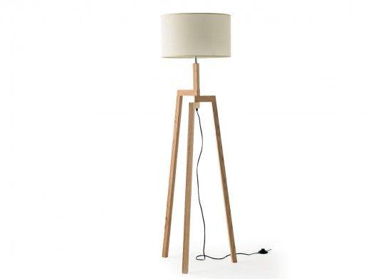 Lámpara de pie trípode madera  merkamueble