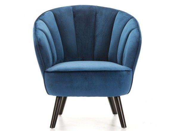 Sillón tapizado azul y patas altas madera  merkamueble