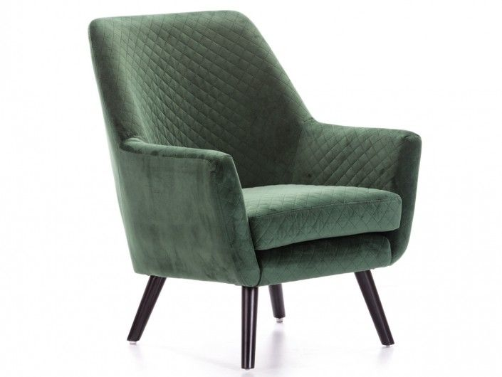 Sillón tapizado verde y patas altas madera  merkamueble