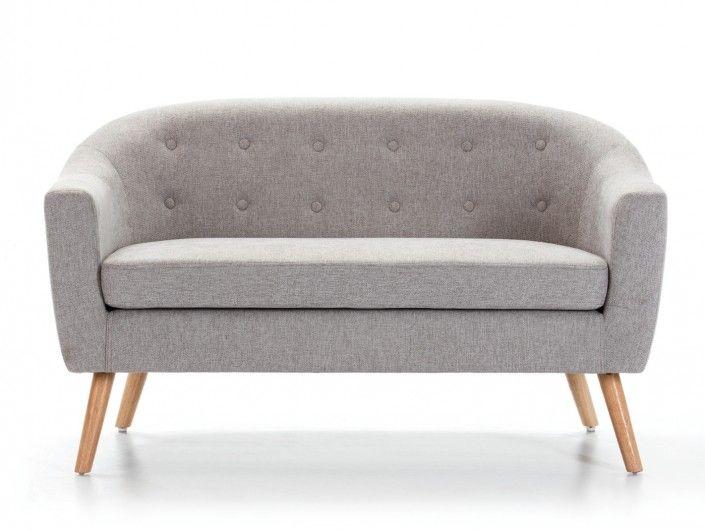Sillón tapizado gris y patas altas madera  merkamueble