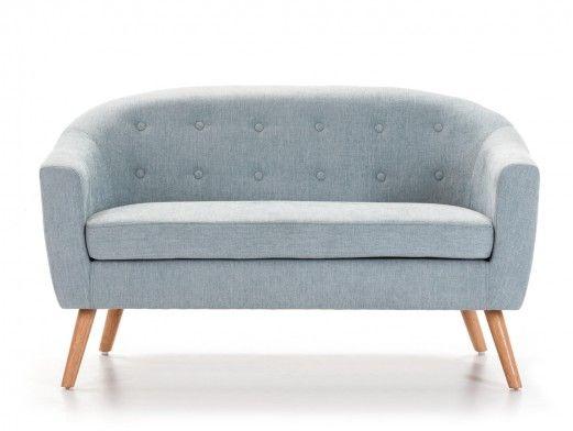 Sofá tapizado azul y patas altas madera  merkamueble