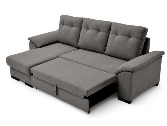 Sofá cama chaise longue con sistema de apertura arrastre elevable tapizado marengo  merkamueble