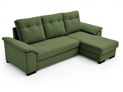 Sofá cama chaise longue con sistema de apertura arrastre elevable tapizado verde  merkamueble