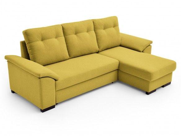 Sofá cama chaise longue con sistema de apertura arrastre elevable tapizado amarillo  merkamueble