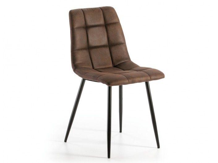 Pack 2 sillas de comedor tapizado marrón y patas metálicas  merkamueble