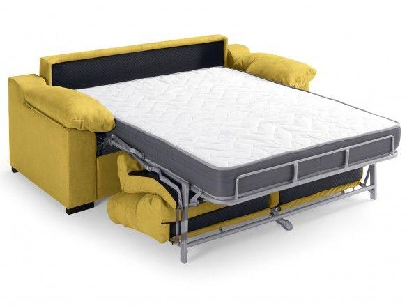 Sofá cama con sistema de apertura italiano tapizado amarillo  merkamueble