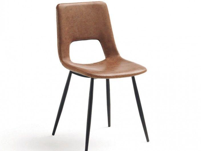 Pack 2 sillas de comedor símil piel marrón y patas metálicas  merkamueble