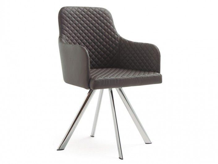 Pack 2 sillas de comedor símil piel gris y patas metálicas  merkamueble
