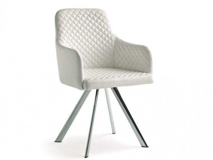 Pack 2 sillas de comedor símil piel blanco y patas metálicas  merkamueble