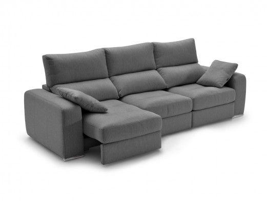 Sofá 4p con asientos deslizantes tapizado gris oscuro  merkamueble