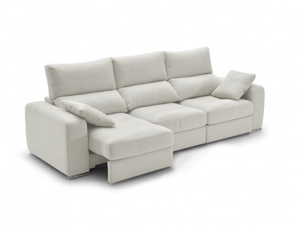Sofá 4p con asientos deslizantes tapizado blanco  merkamueble