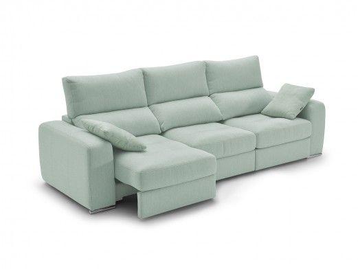 Sofá 4p con asientos deslizantes tapizado verde agua  merkamueble