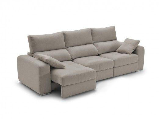 Sofá 4p con asientos deslizantes tapizado beige  merkamueble