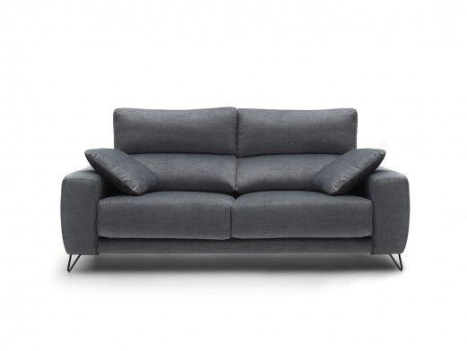 Sofá 3p con asientos deslizantes tapizado gris oscuro  merkamueble