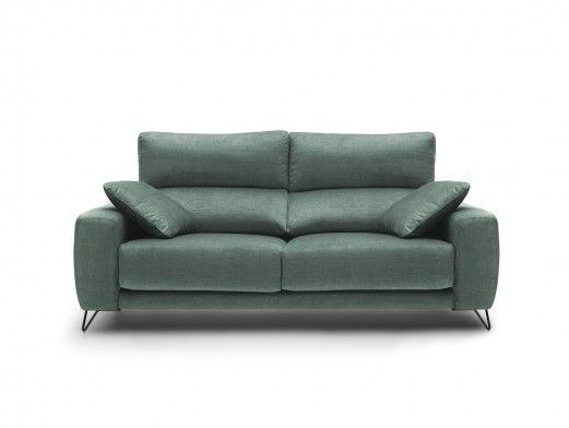 Sofá 3p con asientos deslizantes tapizado verde jade  merkamueble