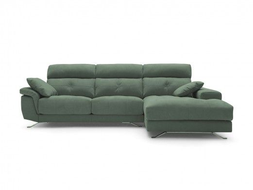 Chaise longue con asientos deslizantes tapizado verde jade  merkamueble