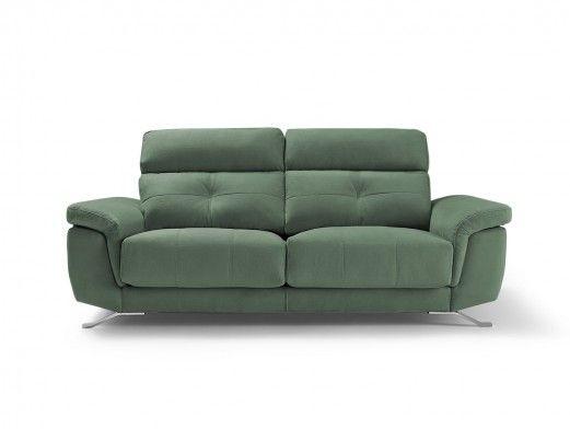 Sofá 2 plazas con asientos deslizantes tapizado verde jade  merkamueble