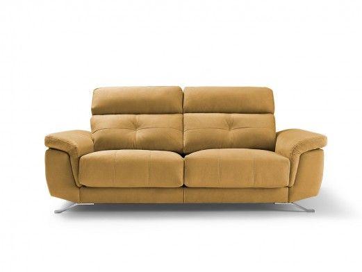 Sofá 3p con asientos deslizantes tapizado mostaza  merkamueble