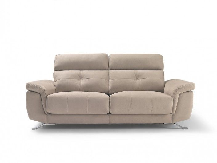 Sofá 3p con asientos deslizantes tapizado beige  merkamueble