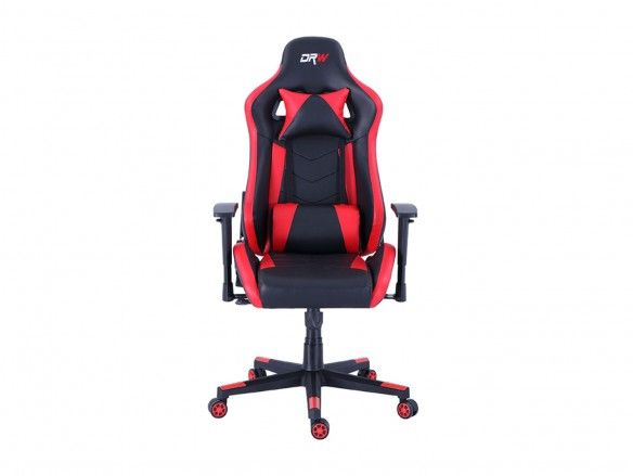 Silla gaming reclinable y giratoria con ruedas antirayas negro - rojo  merkamueble