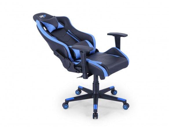 Silla gaming reclinable y giratoria con ruedas antirayas negro - azul  merkamueble