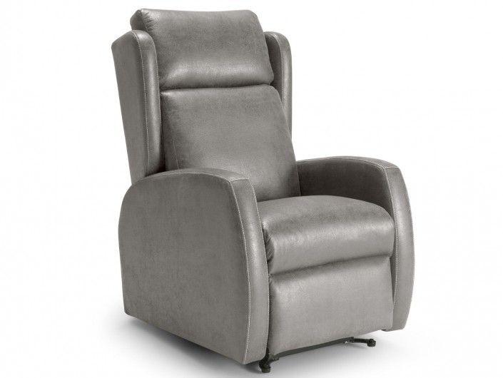 Sillón relax eléctrico elevable (2 motores) tapizado color gris  merkamueble