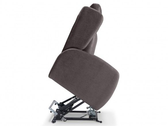 Sillón relax eléctrico elevable (2 motores) tapizado color marrón  merkamueble