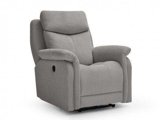 Sillón relax eléctrico con puerto USB/giratorio/balancín tapizado color gris  merkamueble