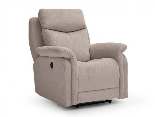 Sillón relax eléctrico con puerto USB/giratorio/balancín tapizado color beige  merkamueble
