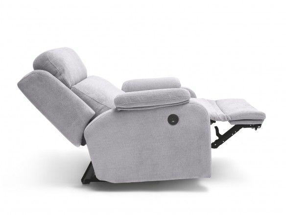 Sillón relax eléctrico con puerto USB tapizado color gris  merkamueble