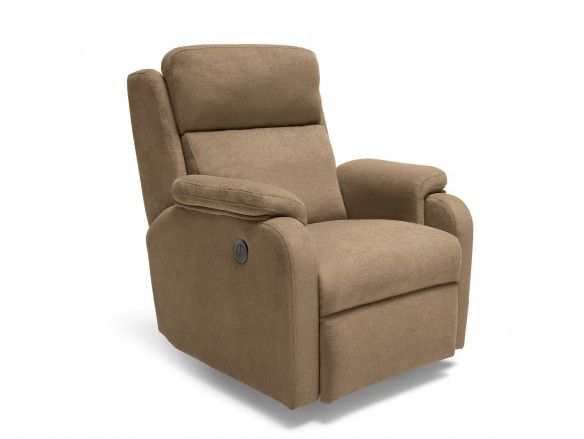 Sillón relax eléctrico con puerto USB tapizado color marrón  merkamueble