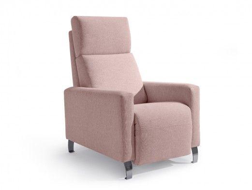 Sillón relax tapizado color rosa  merkamueble