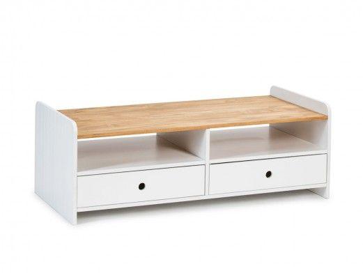 Mesa de centro 2 cajones y 2 huecos color blanco-cera  merkamueble