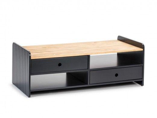 Mesa de centro 2 cajones y 2 huecos color gris antracita-cera  merkamueble