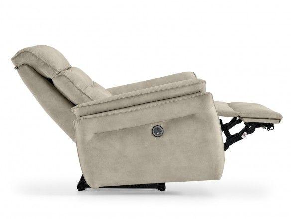 Sillón relax eléctrico con puerto USB tapizado color beige  merkamueble