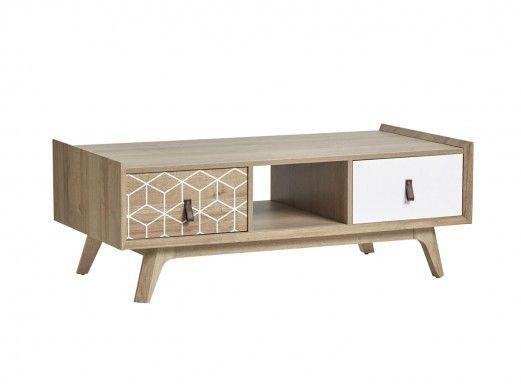 Mesa de centro 2 cajones y 1 hueco color roble-blanco  merkamueble