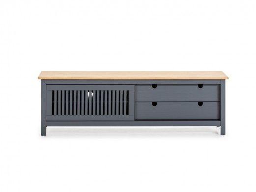 Mueble TV 1 puerta corredera y 2 cajones color cera-gris antracita  merkamueble
