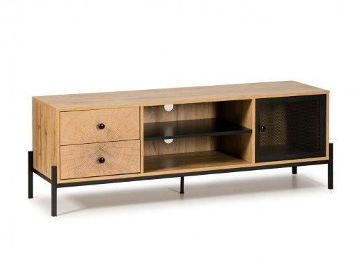 Mueble TV 1 puerta, 2 huecos y 2 cajones color roble-negro  merkamueble