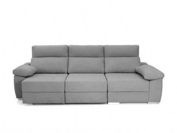 Chaise longue con asientos deslizantes tapizado gris  merkamueble