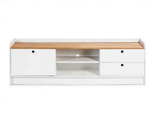 Mueble TV 1 puerta corredera y 2 cajones color cera-blanco  merkamueble