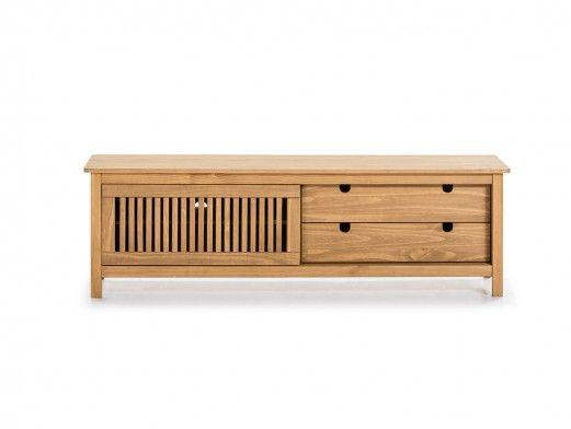 Mueble TV 1 puerta corredera y 2 cajones color cera  merkamueble