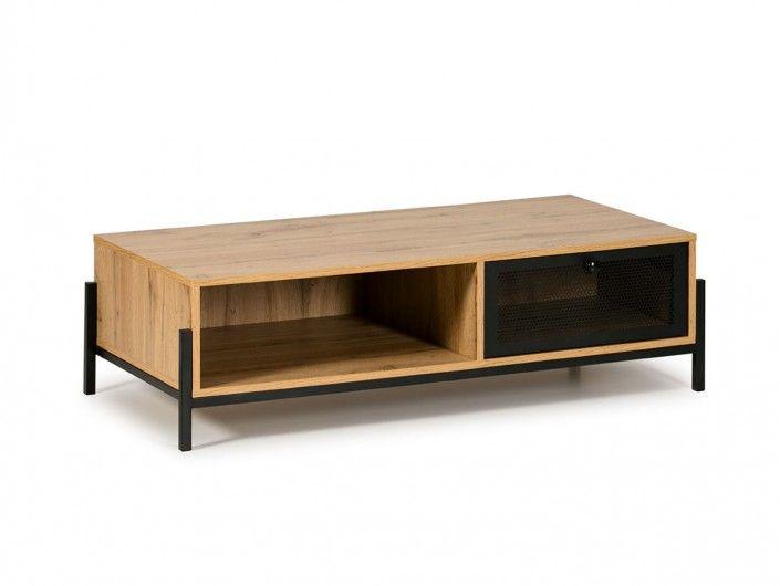 Mesa de centro 1 cajón y 1 hueco color roble-negro  merkamueble