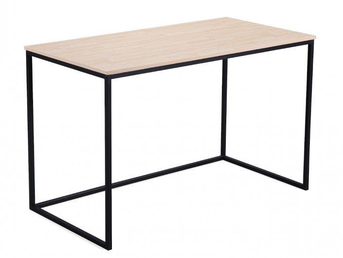 Mesa estudio con patas metálicas y tapa color roble  merkamueble